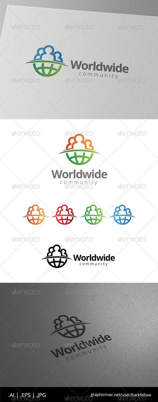 World Globe People Community Logo Design Template Vector #logotype Download it here: http://graphicriver.net/item/world-globe-people-community-logo/8565084?s_rank=853?ref=nexion