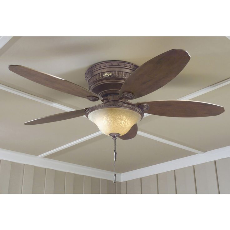 shop hunter avignon 52in tuscan gold flush mount indoor ceiling fan with light kit - Flush Mount Ceiling Fans