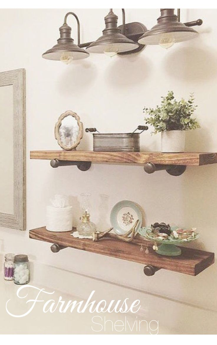 Farmhouse Style Rustic Industrial Shelves. #ad Wood and metal shelves. Perfect for any room. Bathroom kitchen decor. #farmhouse #farmhousestyle #farmhousedecor #industrial #shelves #wood #rustic #rusticdecor #fixerupper #bathroom #kitchen