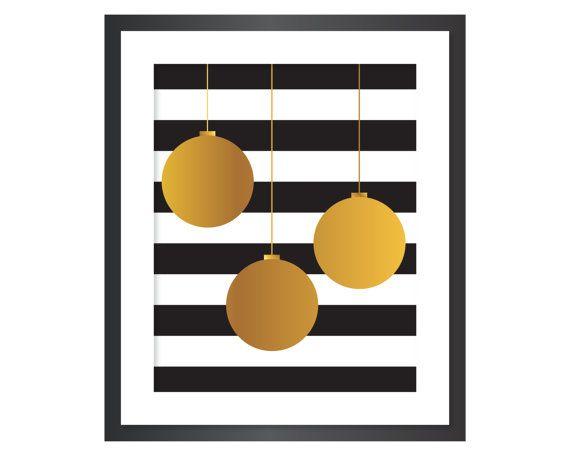 Christmas Printable Art - Instant Download Digital Art Print - Ornaments - Faux Gold Foil