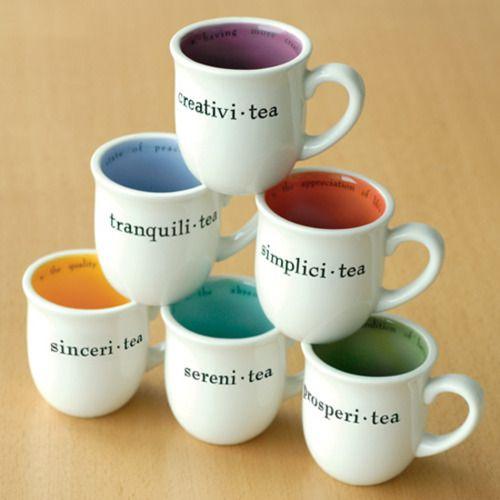 creativi-tea, tranquili-tea, simplici-tea, sinceri-tea, sereni-tea, prosperi-tea mug
