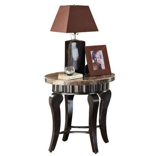 Acme 80069 Galiana Marble Top End Table, Brown  This #Galiana #collection #end #table is made of real marble and comes with brown marble top. Made in China. Measures 20-inch diameter by 23-inch height. This product weighs 35-pound.