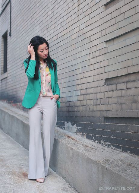 green jacket + sheer floral blouse + pale grey trousers by Extra Petite
