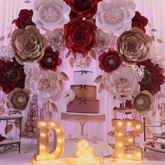 Paper Flower Backdrop In Burgundy Gold And Cream
