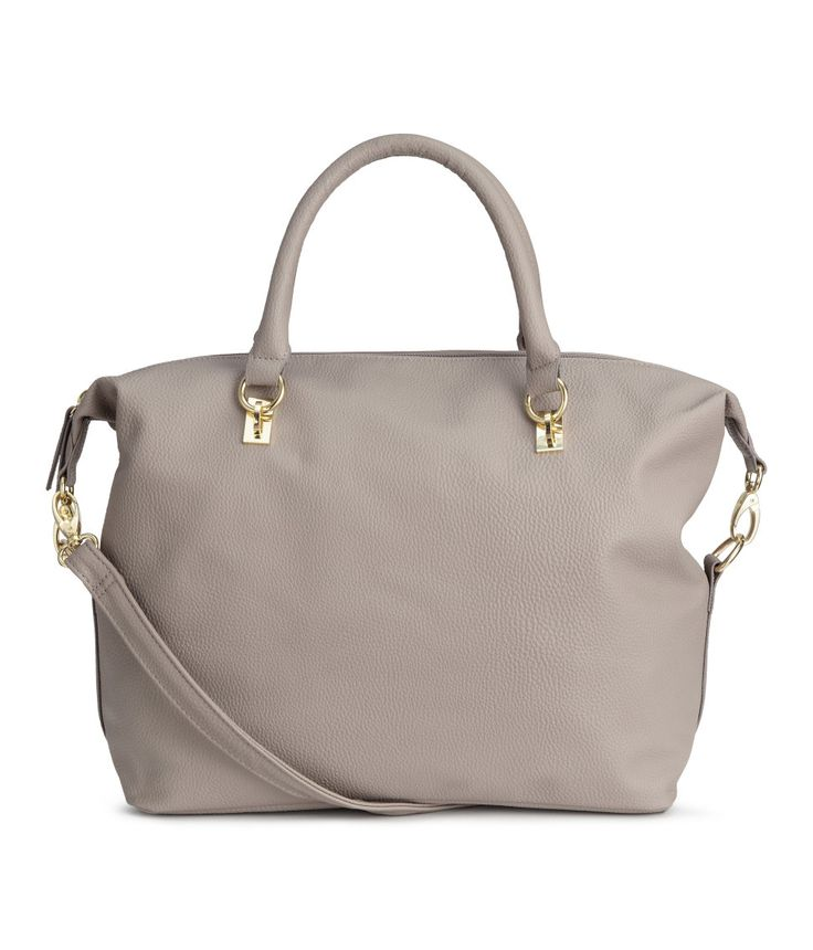 Check this out! Soft handbag in imitation leather. Double handles, top zip, and detachable shoulder strap. Three inner compartments, one with zip. Lined. Size 10 1/2 x 12 1/4 in. - Visit hm.com to see more.