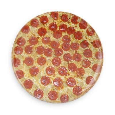 There is no circumstance imaginable that cannot be improved by pizza. Each pin back button measures approximately 1.5 inches in diameter and has a metal back with pin.