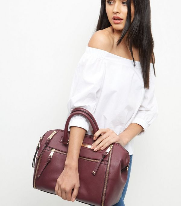 Burgundy Leather-Look Bowler Bag   New Look