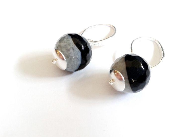orecchini componenti in argento 925 con perla agata striata da 12 mm : Orecchini di tizianatar