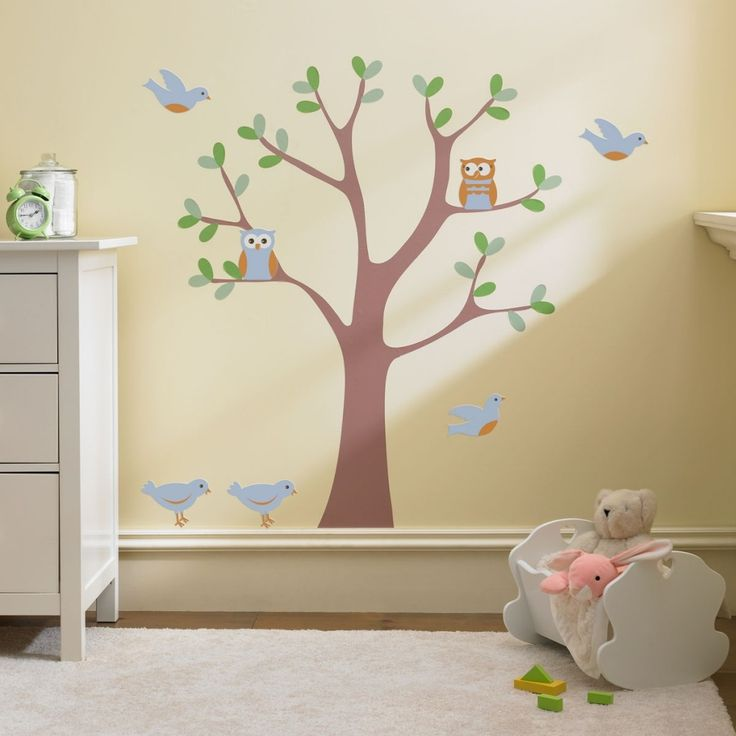 Large tree wall decal and nature scene with blue and orange owls and birds