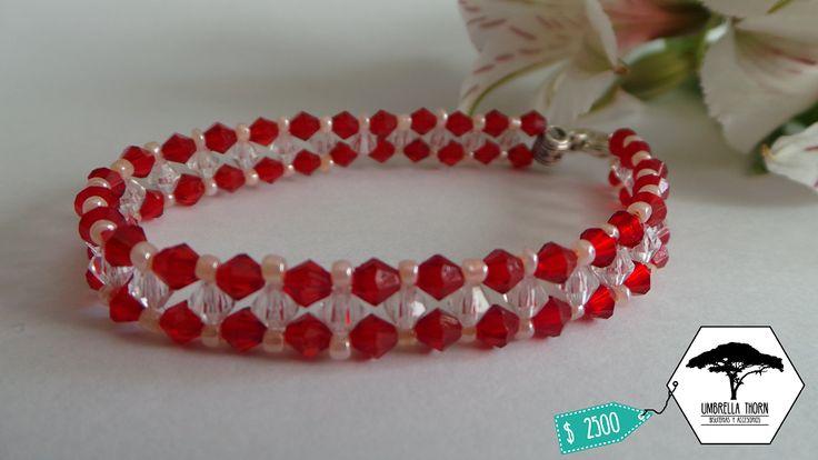 pulsera artesanal chile valparaíso valpo viña bisuteria accesorio umbrella thorn umbrellathorncl rojo y blanco