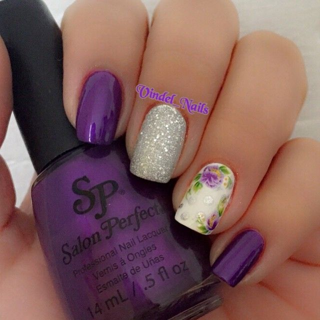 "Instagram media by vindel_nails - Purple Flowers Use Nails Polish: ""How Dare You"" ""Sugar Cube"" ""Silver Sparkler"" all by @SalonPerfect #SalonPerfect •Flowers are tattoos can get them @BornPrettyMua"
