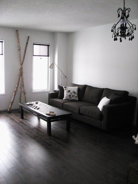 Dark floor w/ dark couch? | Home living room, Dark wooden ...