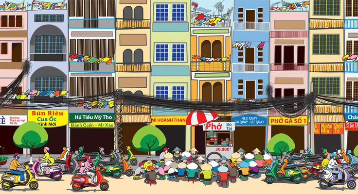 Large Wall Mural: Saigon Street Food Scene (Detail). By pho restaurant consultant Cuong Huynh. Want to open your own pho restaurant? I'll show you how to do it.