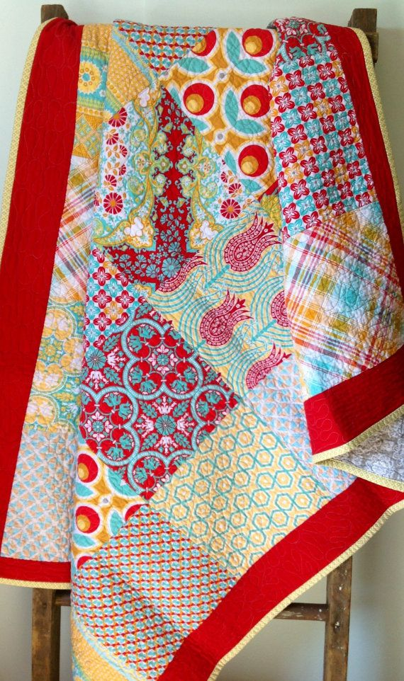 Quilt, Throw Quilt, Lap Quilt, Floral, Modern, Joel Dewberry, Notting Hill Collection via Etsy