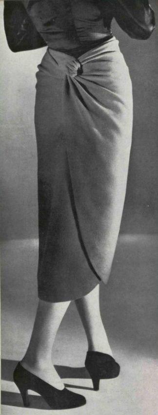 1946 Balenciaga mid 40s unique designer vintage fashion couture skirt wrap back tulip