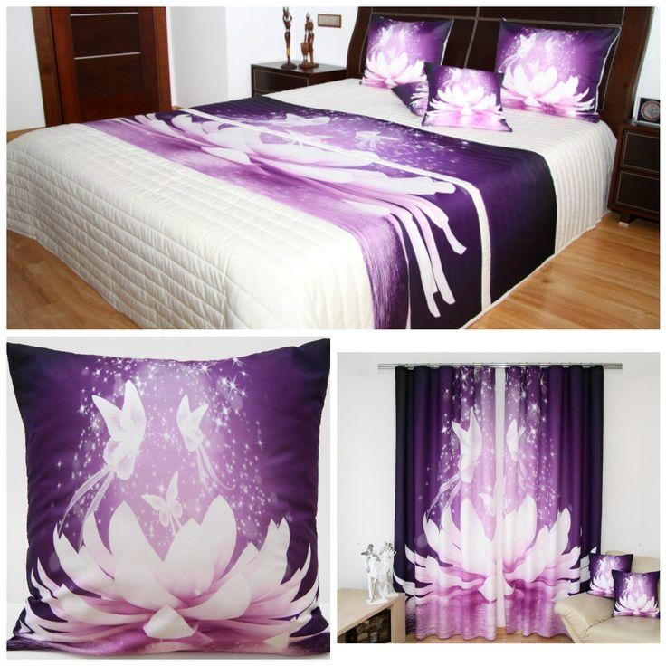 3D bielo-fialové dekoračné sety do spálne s motýľmi a leknom