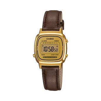 Casio LA670WEGL-9EF. Cronómetro - 1/10 seg. - 1 hora. 7 temporizadores programables (hasta 30 min). Alarma diaria. Calendario automático. Caja de resina. Correa de cuero auténtico. 2 años - 1 pila.