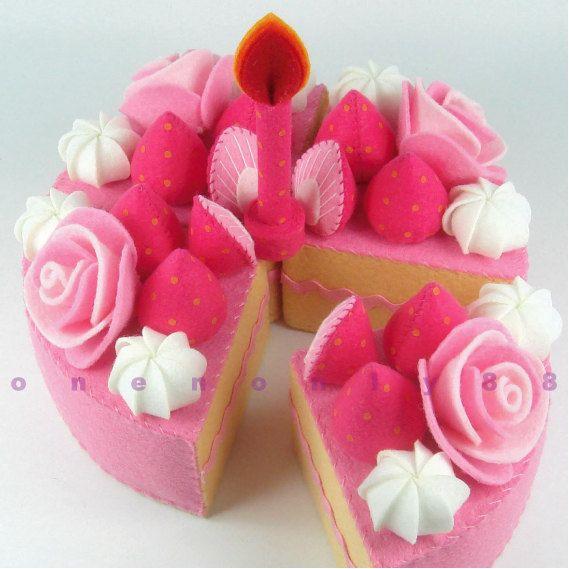 Felt Cake 6 Inch Princess Tea Party Cake Hot Pink by onenonly88, $30.00: Cakes Hot, Felt Birthday Cakes, Pink Cakes, Felt Crafts, Felt Cakes, Hot Pink, Princesses Teas, Teas Parties Cakes, Felt Food