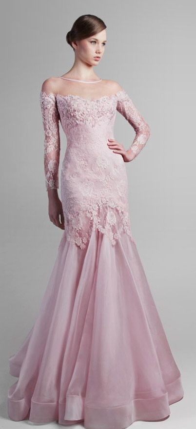 pink gown - lace