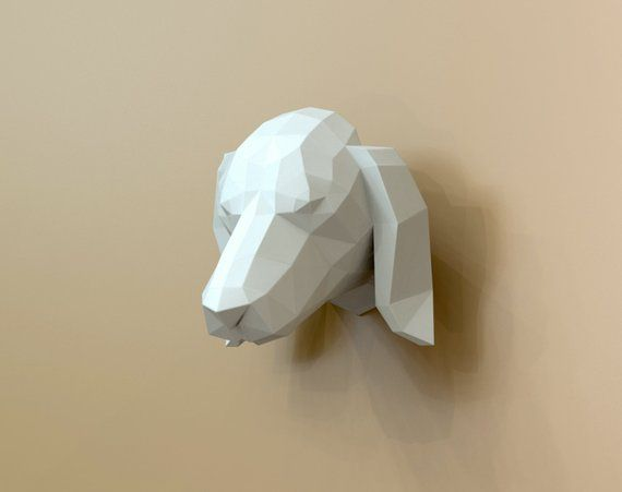 Papercraft Dachshund Dachshund Papercraft Dog Dog Puppy Basset Wall Mount Faux Taxidermy Wall Decor Head Trophy Home Decor Paper Crafts Faux Taxidermy Wall Decor