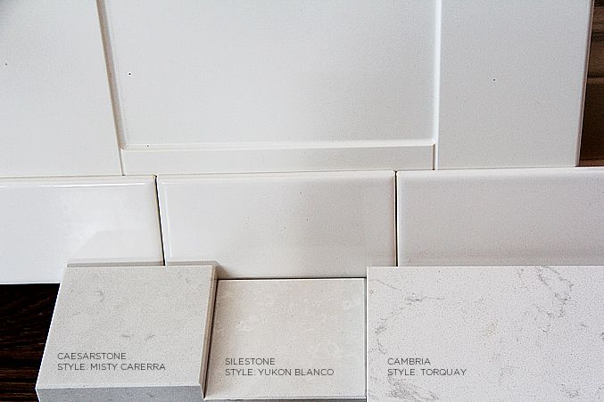 Alternatives to marble Cambria in Torquay , Caesarstone in Misty Carrera  and last but not least, Corian Rain Cloud. Each of the three options gives me the look of Carrera Marble, but without the upkeep or stress of etching/staining that it comes with.