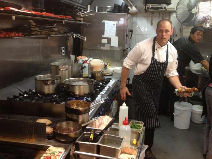 Head Chef Kevin all action in another busy lunch period