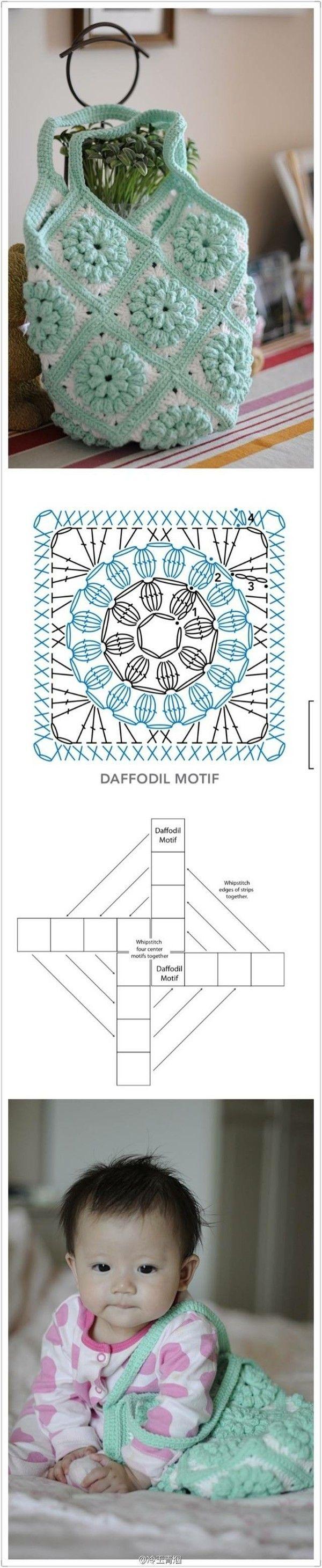 Crochet : Granny Bag - Chart ❥ ༺✿ƬⱤღ  http://www.pinterest.com/teretegui/✿༻