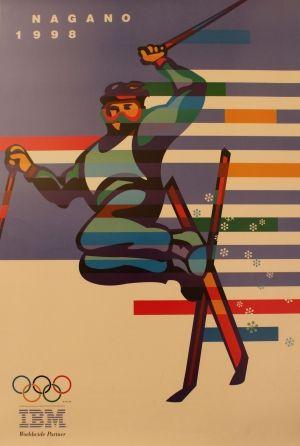 Nagano 1998 - original Winter Olympic skiing poster listed on AntikBar.co.uk