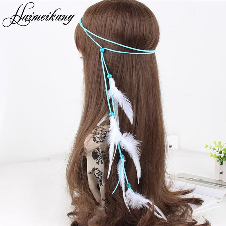 Indian Bead Hair Feather Headband for Women
