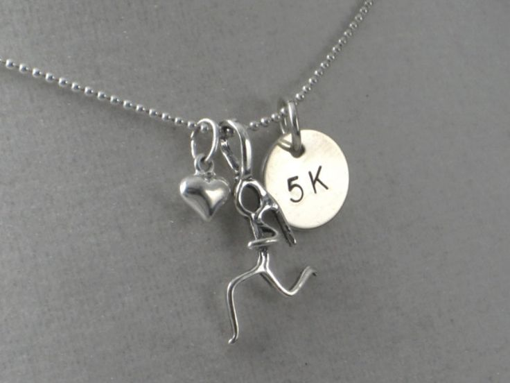 18 inch Sterling Silver GIRLS LOVE to RUN 5K - Cross Country Running Necklace on 18 inch Sterling Silver Ball chain - Track Jewelry. $33.00, via Etsy.