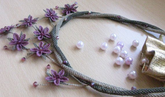 plum crochet necklaceplum necklaceviolet by needlecrochet on Etsy