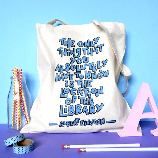 Albert Einstein Library Quote Tote | 33 Impossibly Cute Ways To Cover Your Body In Books
