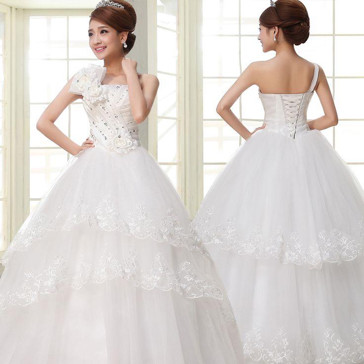 Trending Free flower one shoulder strapless women ball gown floor length wedding dresses ding
