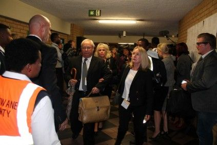 June Steenkamp, Reeva's mother leaves the court on Monday.