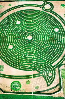 Aerial view of labyrinth at park in Rignac. Touraine, Val-de-Loire. France
