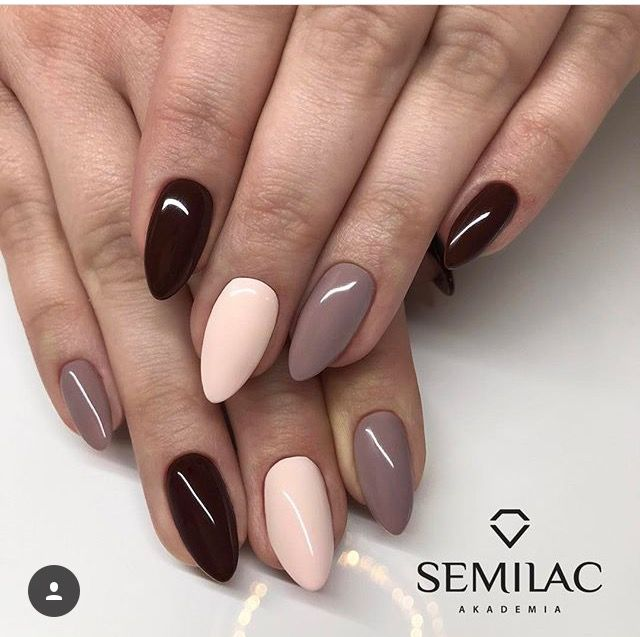 Black Light Pink And Light Brown Short Almond Nails Trendy Nails Solid Color Nails Gel Nails