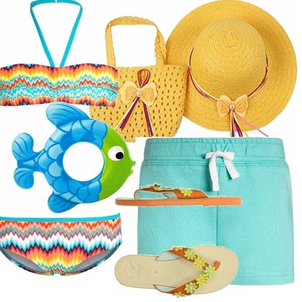 Bikini bimba, in una allegro motivo colorato. Pantaloncino corto verde acqua. Borsetta e cappellino in paglia giallo. Simpaticissimo salvagente blu e verde. Ciabattina infradito in cuoio, arancione con fiorellini gialli e verdi.