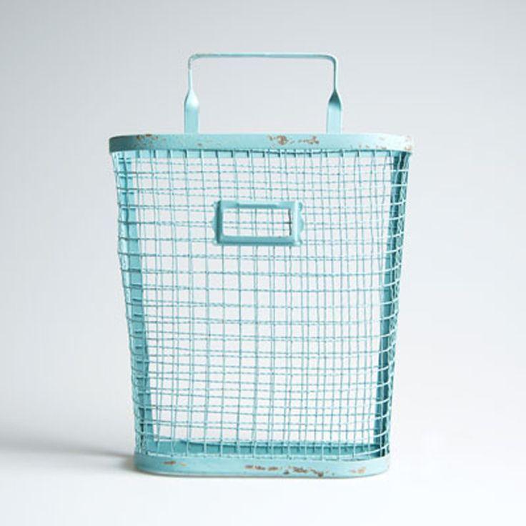 Storage . Wall Mounted Wire Basket - Blue