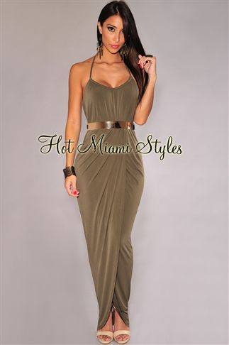 Olive Halter Gold Belted Maxi Dress Womens clothing clothes hot miami styles hotmiamistyles hotmiamistyles.com sexy club wear evening  clubwear cocktail party kim kardashian dresses