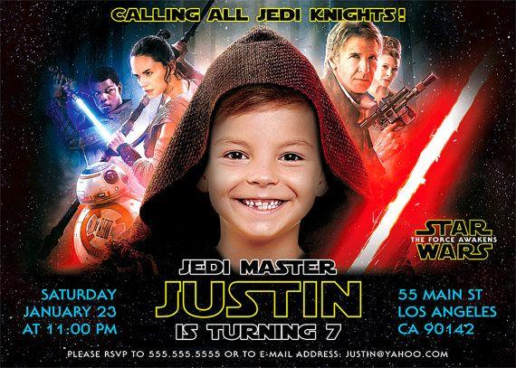 Star Wars Birthday Invitation The Force Awakens Digital