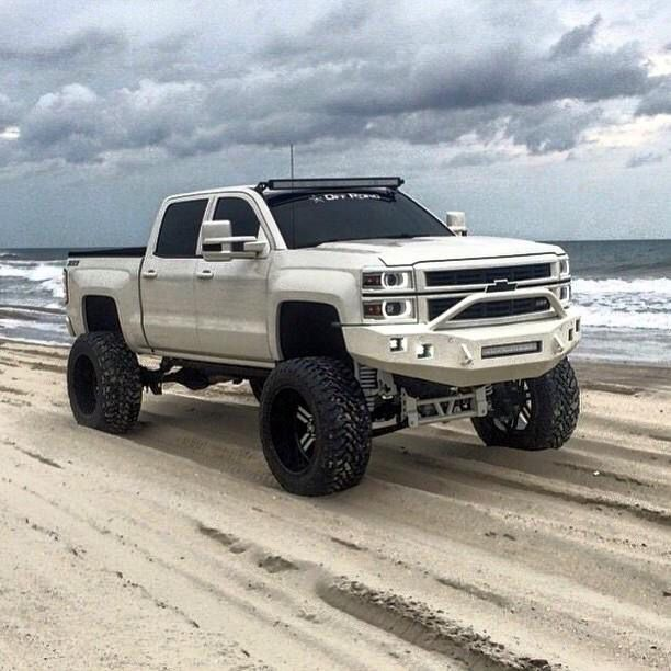 jacked up white chevy trucks - photo #42