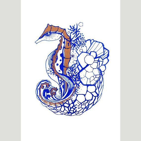 A5 Giclee Print: Seahorse MelanieReevesArt Etsy