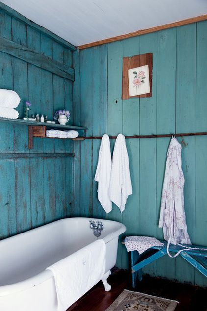 Bathroom by Amy Neunsinger  If you have paneling you can kilz it gray and paint aqua over it, sand a bit to achieve this look.