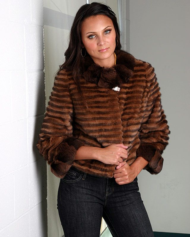 Sheared Mink Jackets | Product Details - Sheared Mink Jacket with Chinchilla Trim