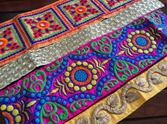 Foot Longs12 Trims-Assorted Silk Fabric by ArtsyCraftsyDesigns