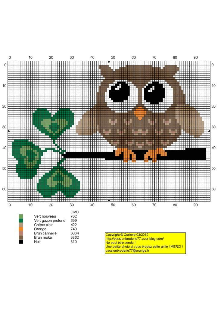 Cute free owl cross stitch pattern link not in english for Cross stitch patterns free printable
