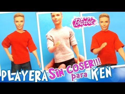 Como hacer ROPA para Muñeco KEN SIN COSER | DIY Playera para KEN de BARBIE - YouTube