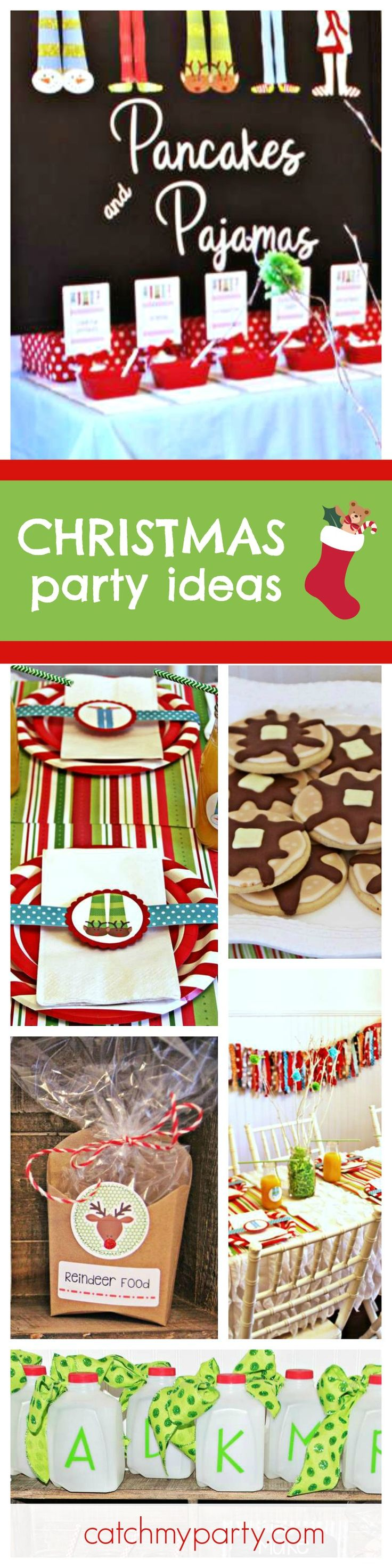 Check out this fantastic Pancakes & Pajamas Christmas party. The holiday table settings are so cute! See more party ideas and share yours at CatchMyParty.com