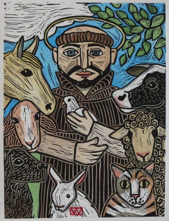 St. Francis and the Animals Original Print by JoanYbergFolkArt