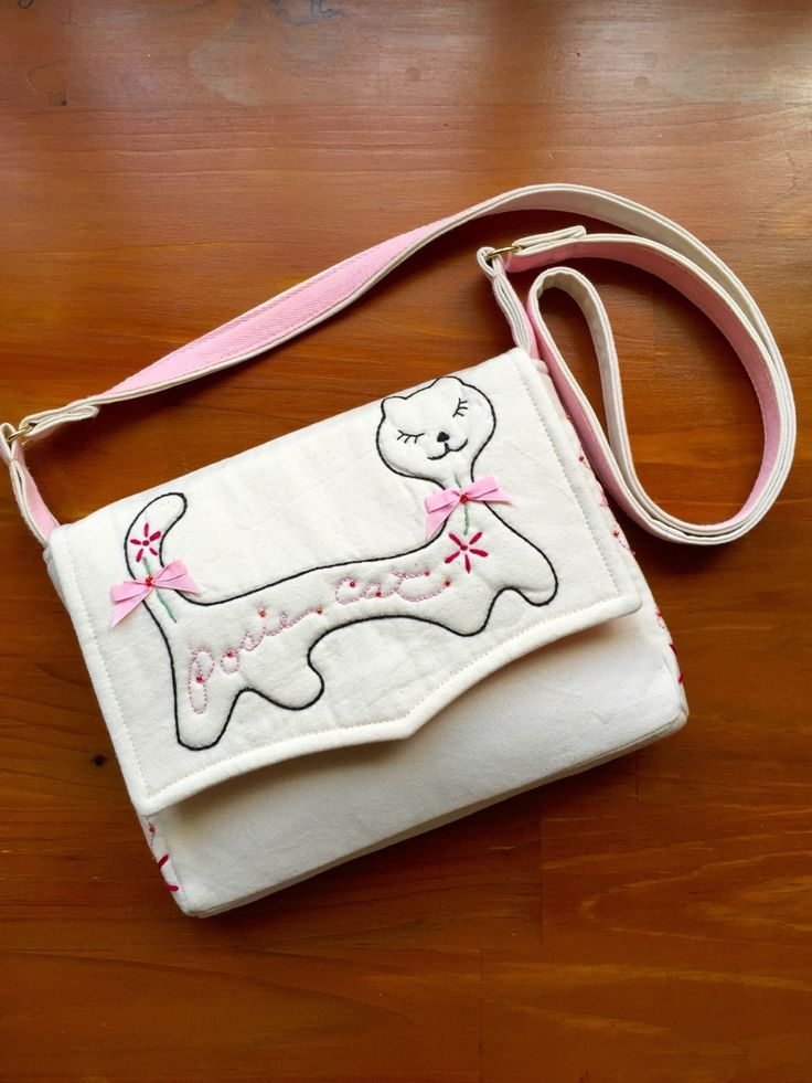 Mini Messenger Bag Embroidered Cat Cream Twill Fabric Shoulder Bag by EverSewNice on Etsy